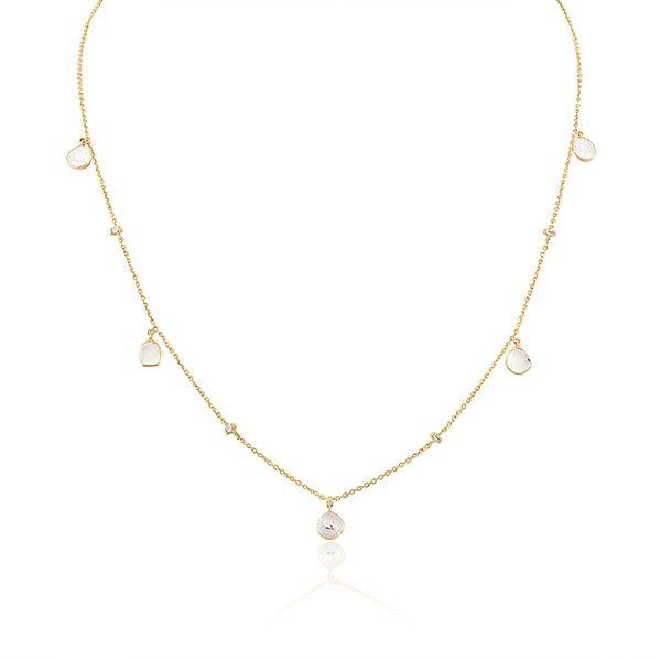 Колье из золота с подвесками из алмазных долек и бриллиантов багетной огранки