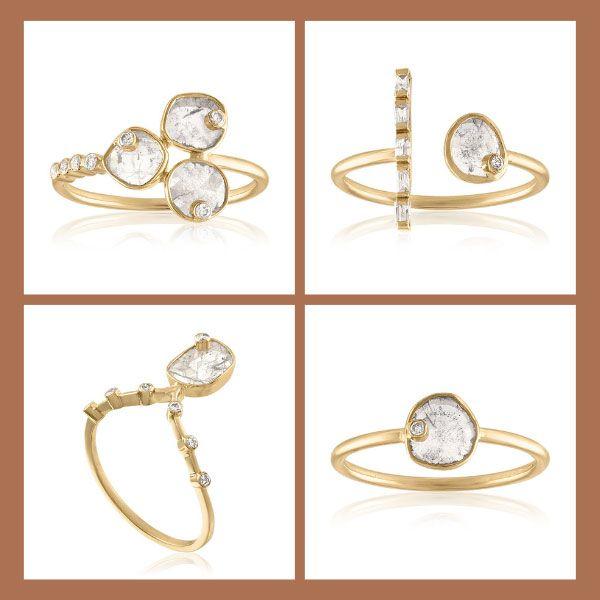 Кольца из золота с алмазными дольками и бриллиантами