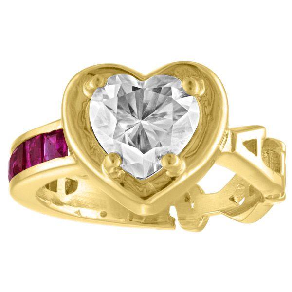 Кольцо Love Always pinky из желтого золота с муассанитом и рубином