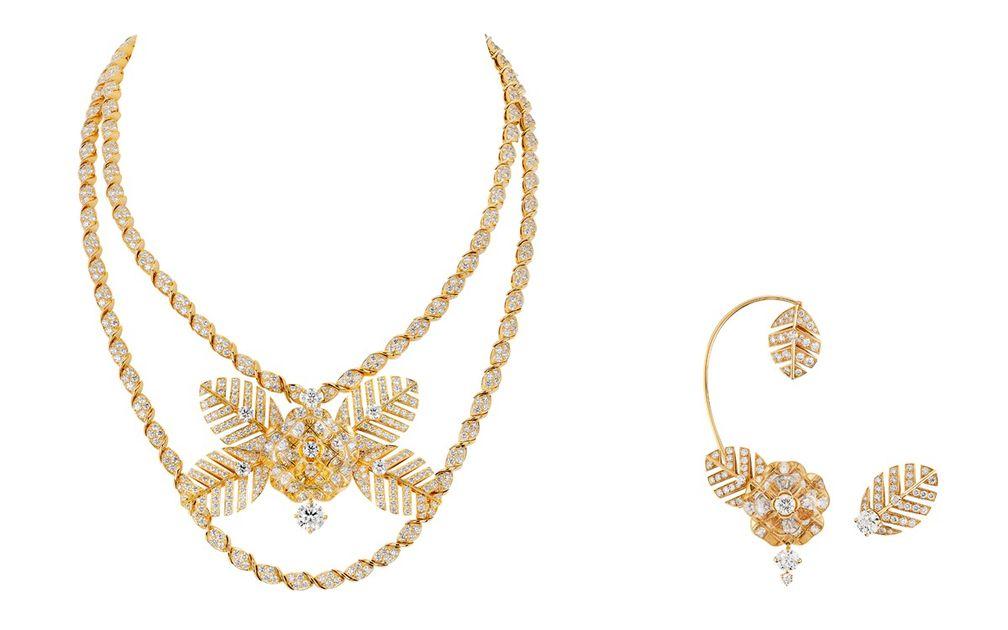 Колье и асимметричные серьги Camélia Vénitien из желтого золота с бриллиантами и горным хрусталем