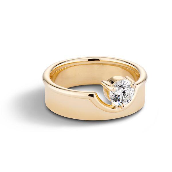 Обручальное кольцо Duo от WWAKE из желтого золота с бриллиантом