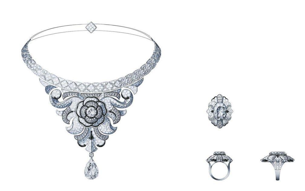 Колье и кольцо Camélia Baroque из белого золота с бриллиантами и черным лаком