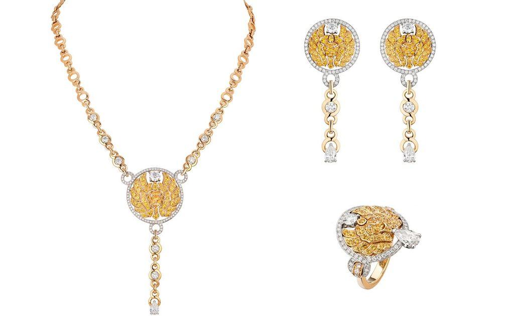 Набор Lion Emblématique из желтого золота, платины, бриллиантов и желтых сапфиров