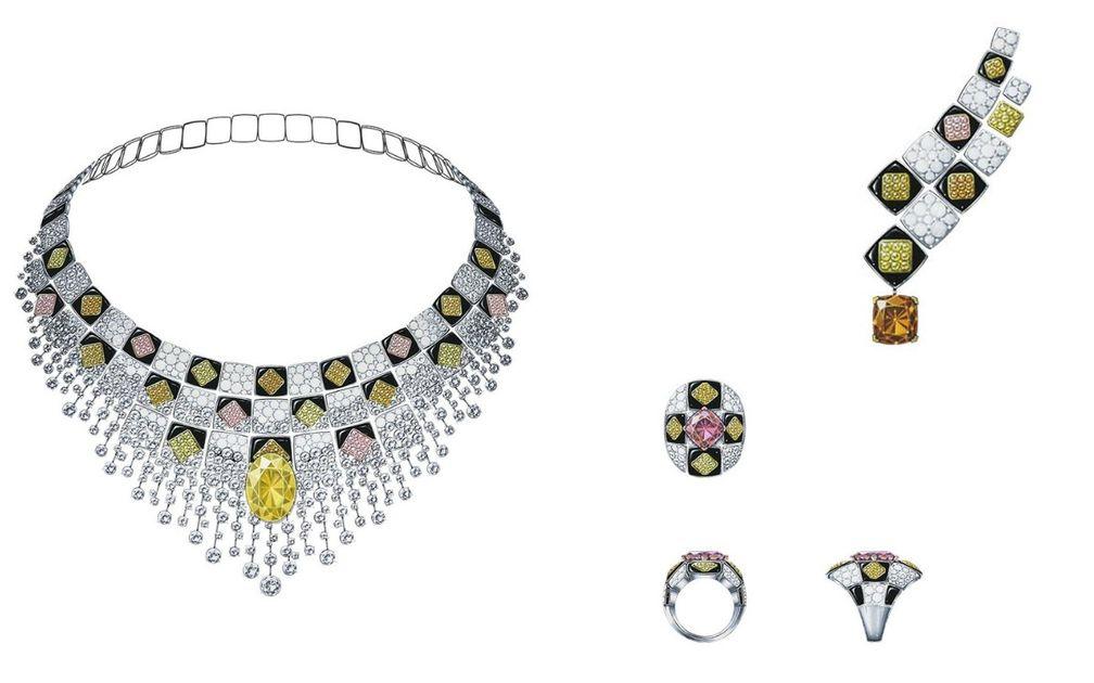 Колье Sérénissime с овальным мандариновым сапфиром, кольцо и асимметричные серьги Sérénissime