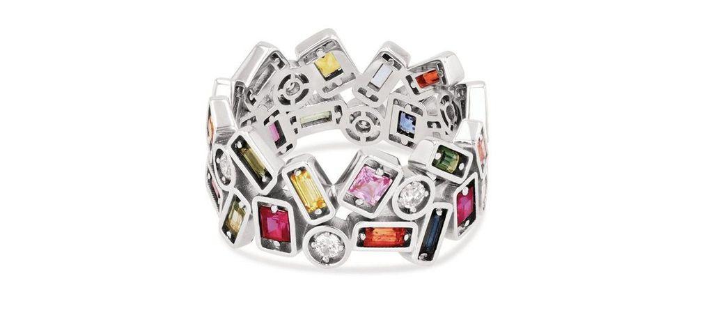 Кольцо Rainbow Mosaic Eternity Band от Suzanne Kalan из белого золота с сапфирами и бриллиантами