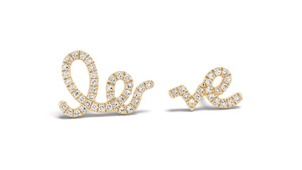 Серьги LO-VE из 14-каратного золота с бриллиантами от Serena Williams Jewelry: