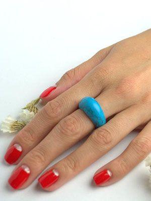 кольцо цельное из бирюзы