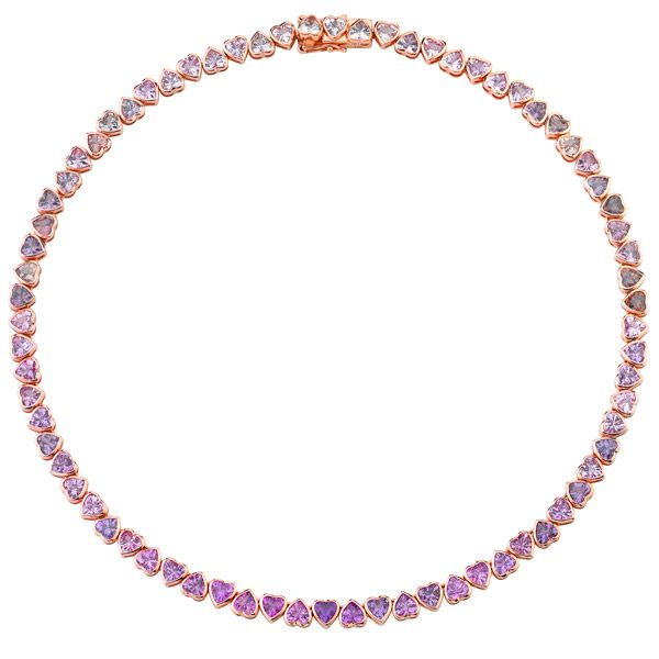 Колье For Eternity из розового золота с розовыми, фиолетовыми и серыми мадагаскарскими сапфирами