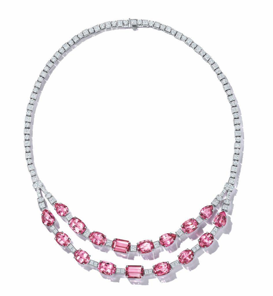 Платиновое колье Tiffany & Co с розовыми турмалинами и бриллиантами