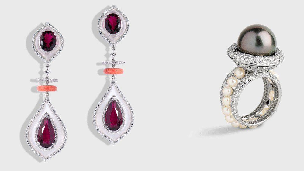 Серьги с рубинами и бриллиантами, кольцо с бриллиантами и таитянской жемчужиной