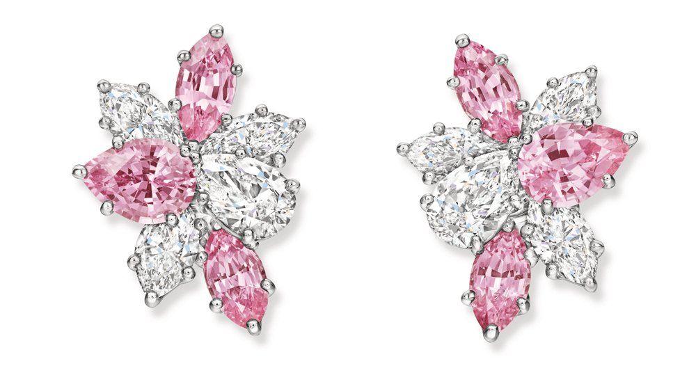 Серьги Harry Winston с розовыми сапфирами и бриллиантами