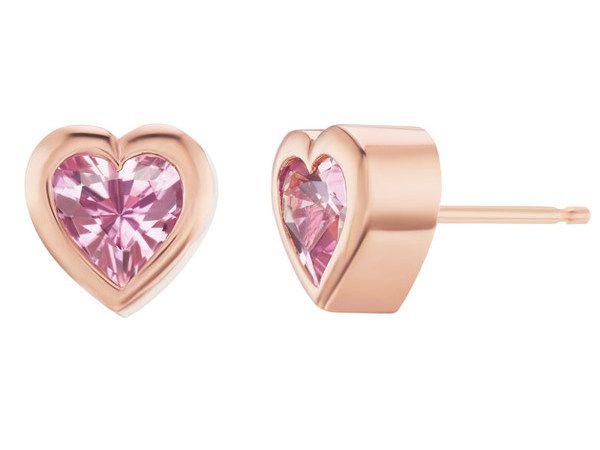 Серьги-гвоздики Heart из розового золота с сапфирами в форме сердца
