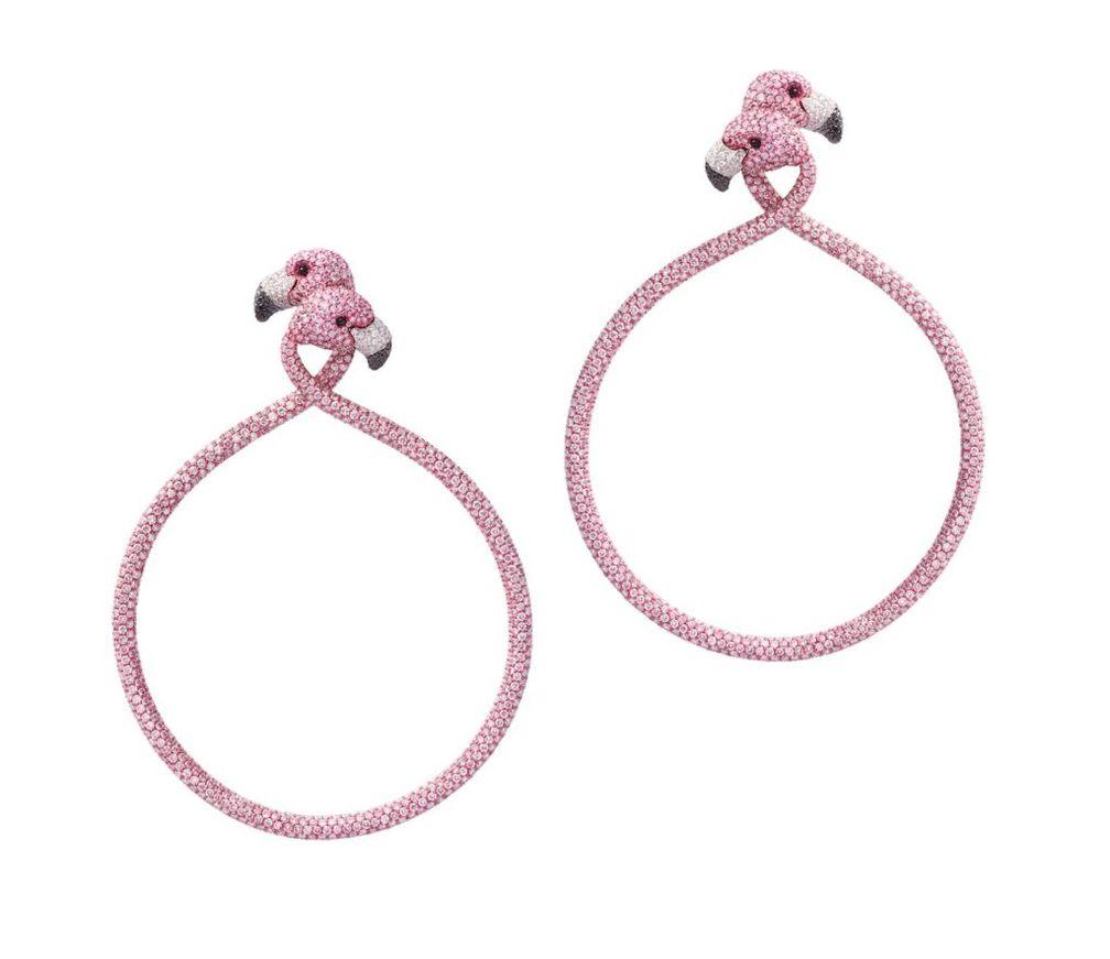 Серьги от Chopard из розового титана, украшенные розовыми бриллиантами