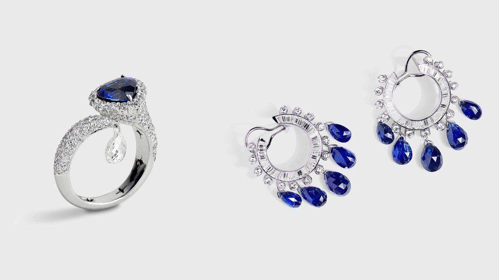 Кольцо и серьги с сапфирами и бриллиантами от Sanjay Kasliwal