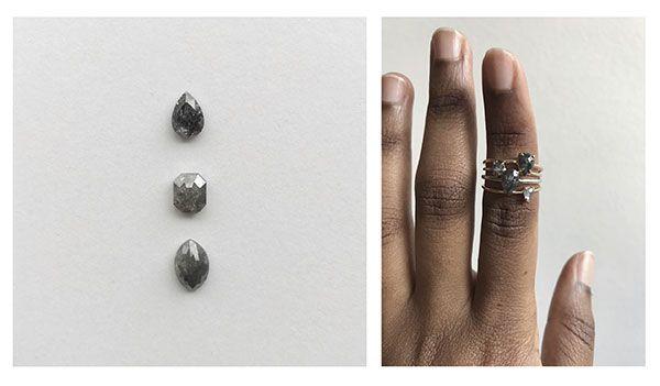 Стоимость изготовленных на заказ обручальных колец с бриллиантами «соль с перцем» варьируется от 900 до 2500 долларов