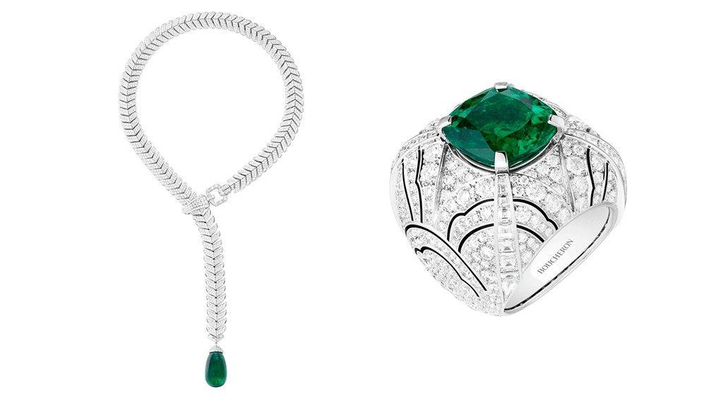 Колье Boucheron с шевроном и кольцо с бутоном из изумруда и бриллиантов