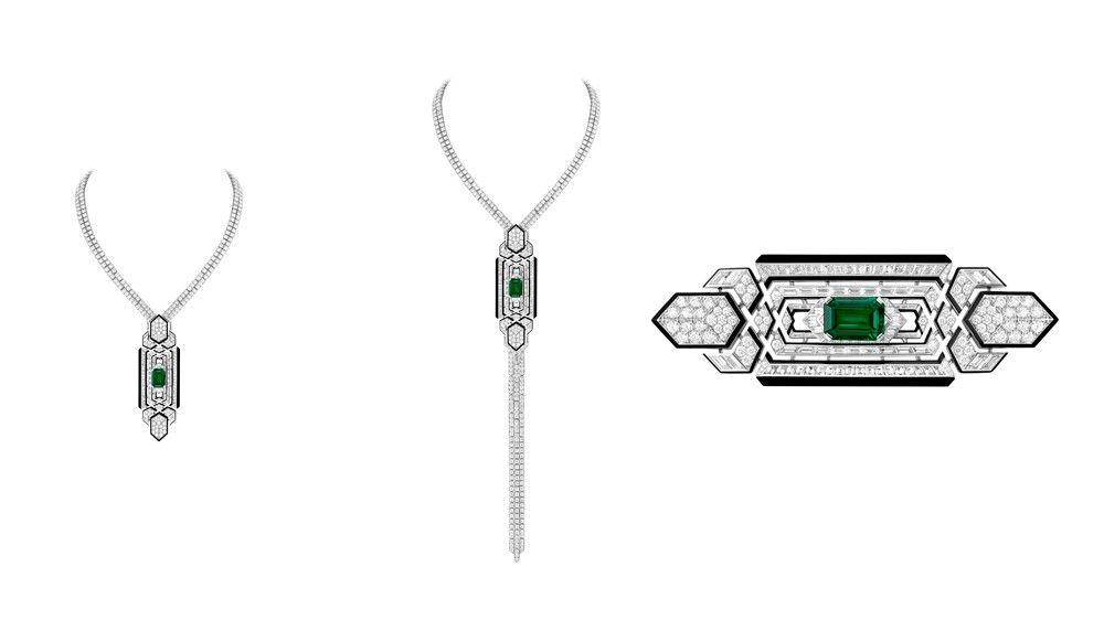 Колье Boucheron Cravate с изумрудами, бриллиантами и ониксом