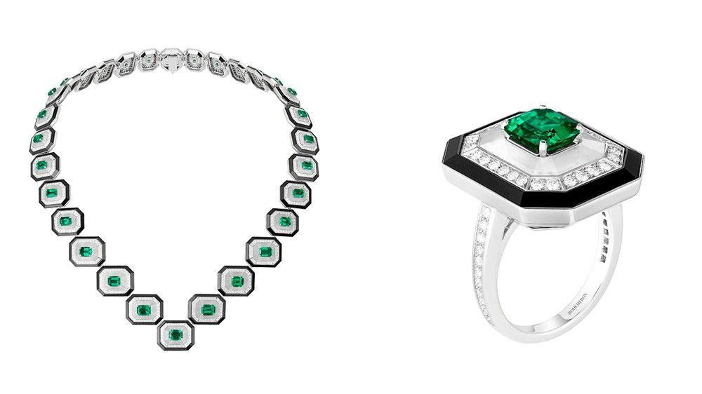 Колье и кольцо Boucheron с изумрудами и горным хрусталем