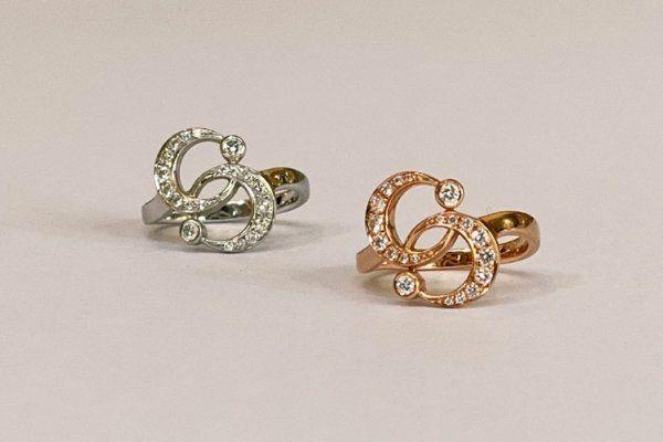 Кольца Luna Twin из белого и розового золота с бриллиантами