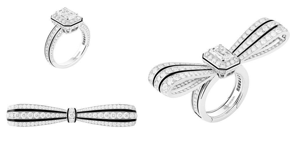 Кольцо / брошь Boucheron Noeud с бриллиантом и черным лаком