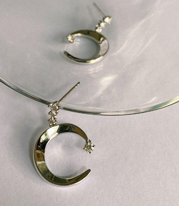 Серьги Luna Drops из белого золота с бриллиантами