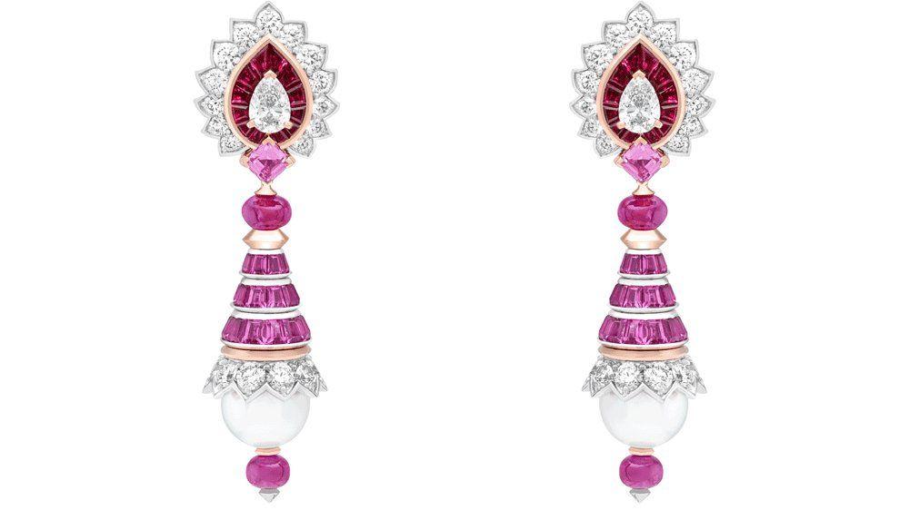 Серьги Van Cleef & Arpels с рубинами, розовыми сапфирами, жемчугом и бриллиантами