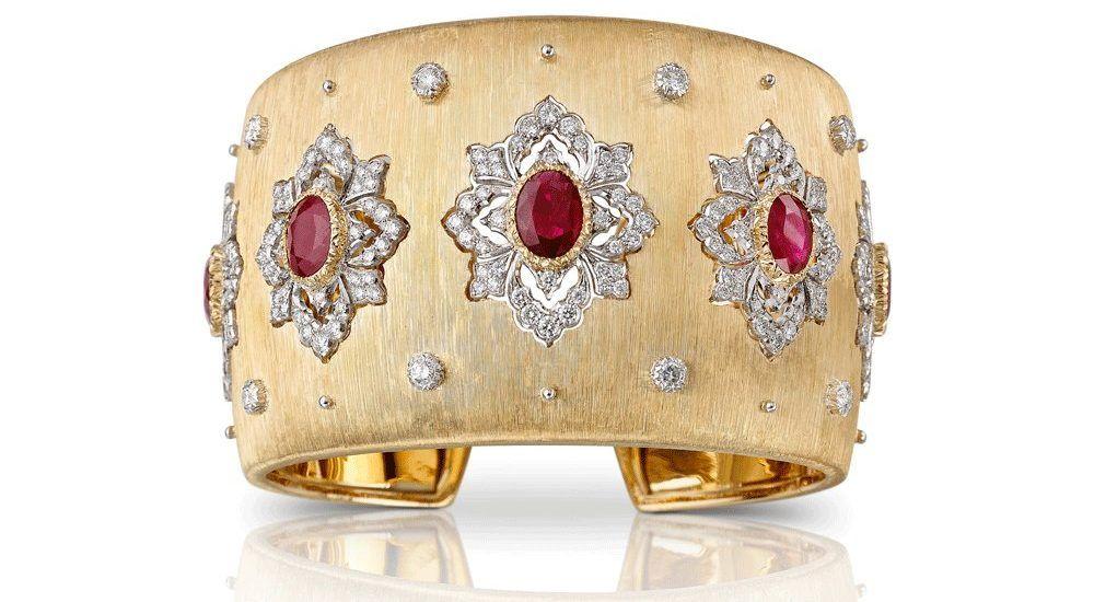Браслет-манжета Buccellati с рубинами и бриллиантами