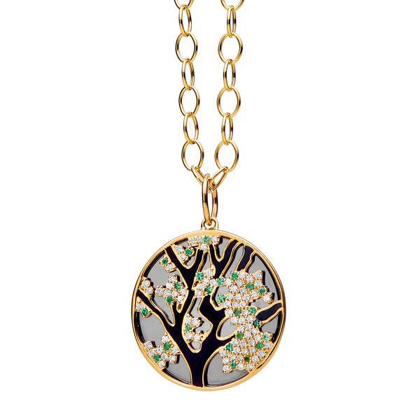 Подвеска Jardin Cherry Blossom из желтого золота с оксидированным серебром, бриллиантами цвета шампанского и изумрудами