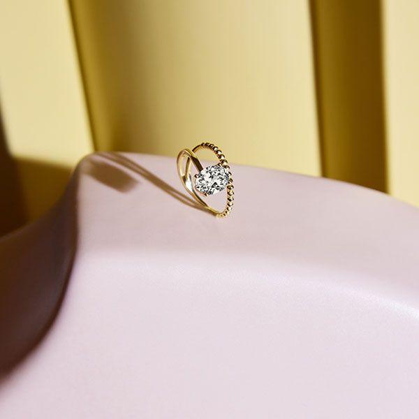 Обручальное кольцо Billie от Kimaï из вторичного желтого золота с овальным бриллиантом