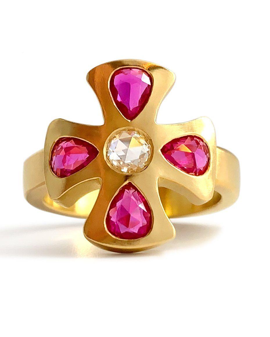 Золотое кольцо Burnish с единственным в своем роде бриллиантом и рубином 22 карата от Linda Hoj