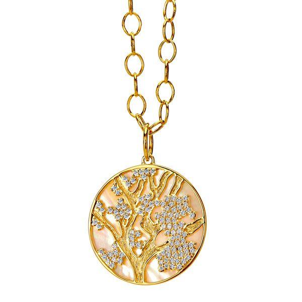 Подвеска Jardin Cherry Blossom из золота с перламутром и бриллиантами цвета шампанского