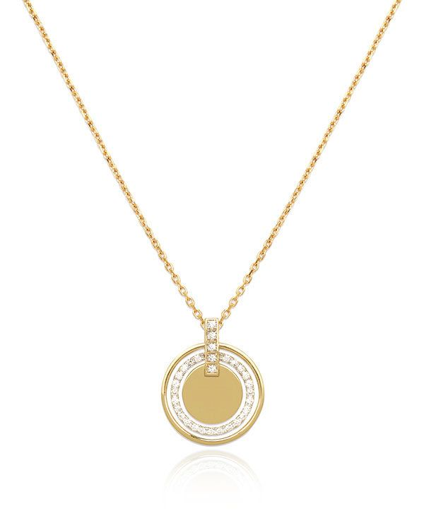 Кулон Clean Cool Cultured из золота с гравировкой украшен выращенными в лаборатории бриллиантами