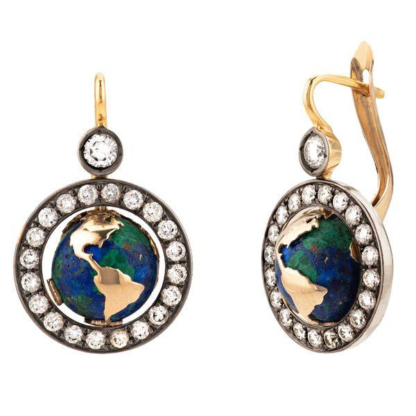 Серьги Earth из желтого и белого золота и черного родия 13,8 карата, с азурмалахитом и бриллиантами