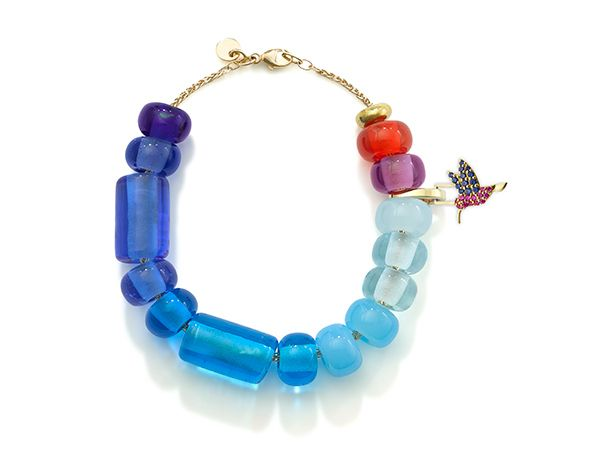 Браслет из бусин Arcadia blue ombré с шарнирным звеном и цепочкой из 9-каратного золота
