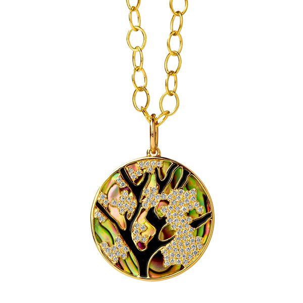 Подвеска Jardin Cherry Blossom из желтого золота с раковиной морского ушка и бриллиантами цвета шампанского