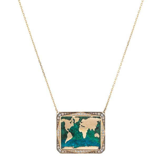 Колье Atlas из желтого золота украшено азурмалахитом 36,32 карата, коричневыми и белыми бриллиантами