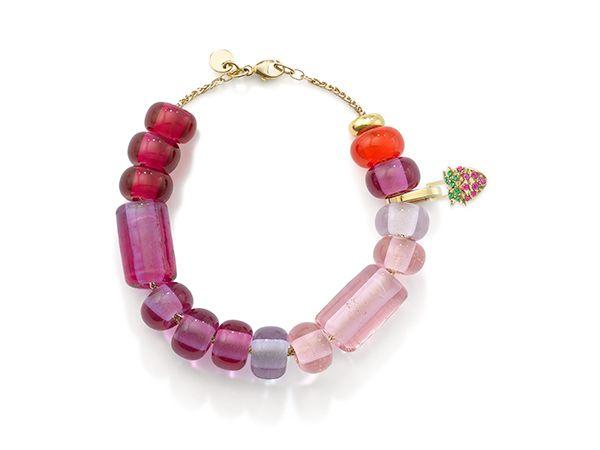 Браслет из бусин Arcadia pink ombré с шарнирным звеном и цепочкой