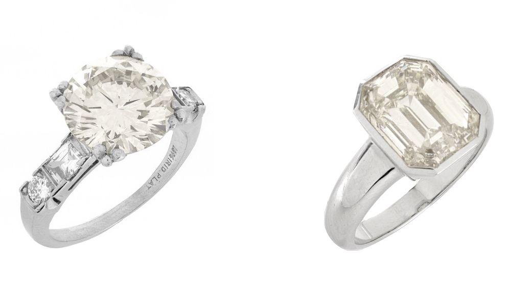 Кольцо с бриллиантом бриллиантовой огранки весом 4,38 карата; кольцо с бриллиантом изумрудной огранки весом 5,08 карата