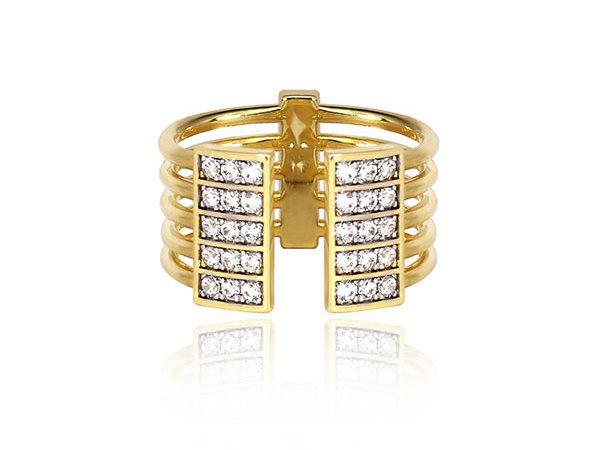 Открытое кольцо Clean Cool Cultured из желтого золота, украшенное выращенными в лаборатории бриллиантами