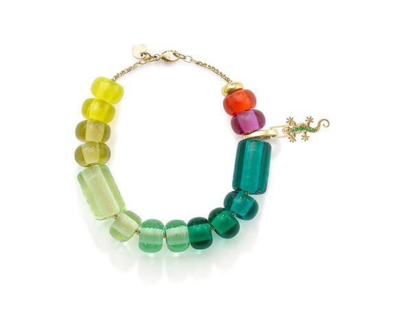 Браслет из бусин Arcadia green-yellow ombré с шарнирным звеном и цепочкой