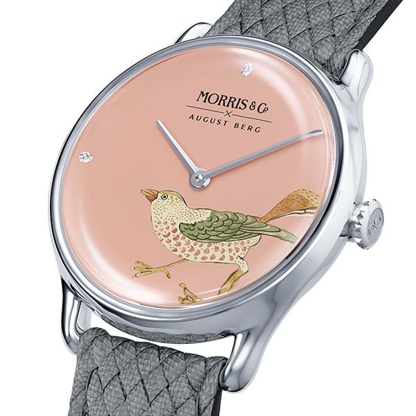 Часы Strawberry Thief Bird из нержавеющей стали с серым ремешком из перлона