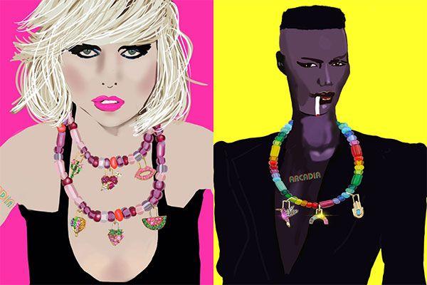 Портреты Дебби Харри из Blondie (слева) и Грейс Джонс от @sketchnyc в украшениях Arcadia