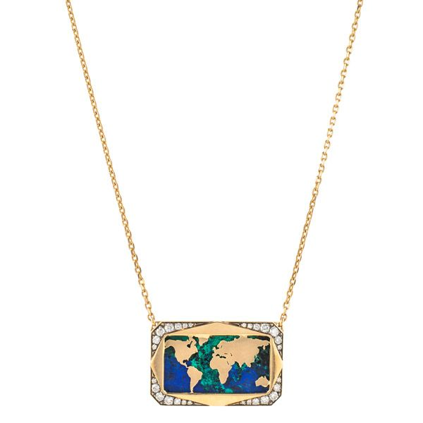 Колье Mini Atlas из желтого золота, с азурмалахитом 9,4 карата, коричневыми и белыми бриллиантами