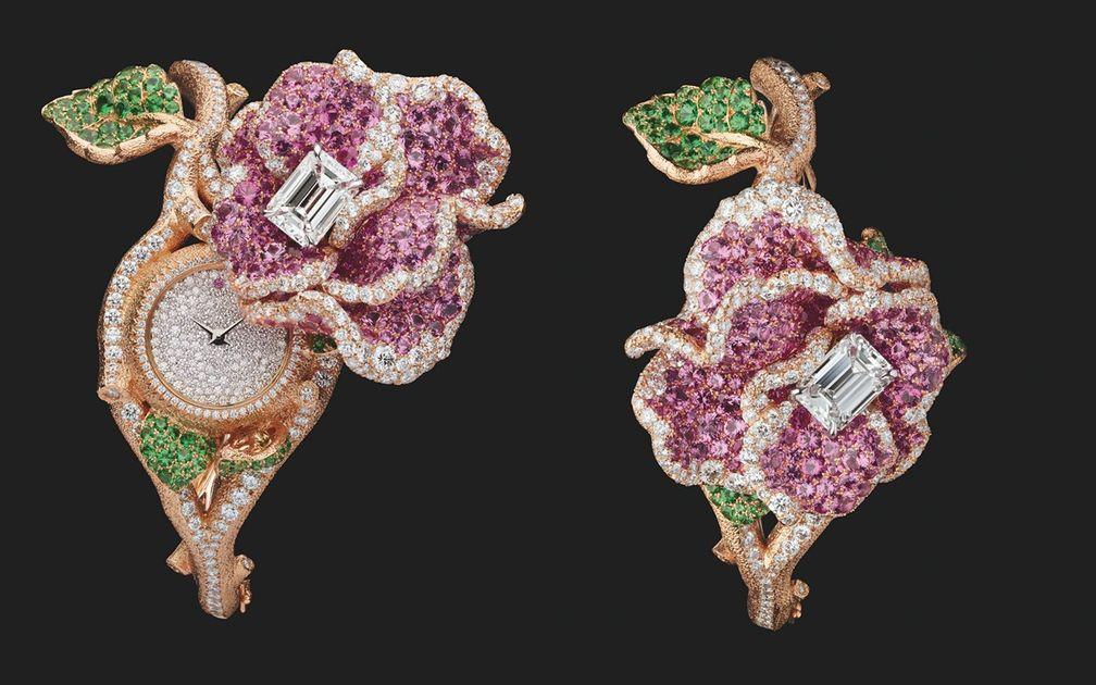 Часы RoseDior с бриллиантом изумрудной огранки