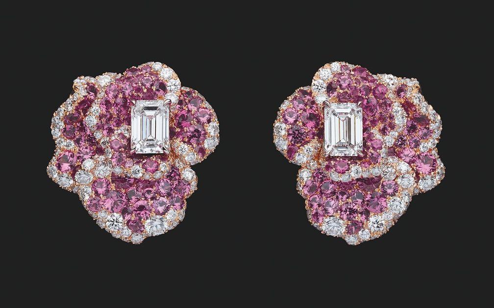 Серьги RoseDior из розового и белого золота с бриллиантами и розовыми сапфирами