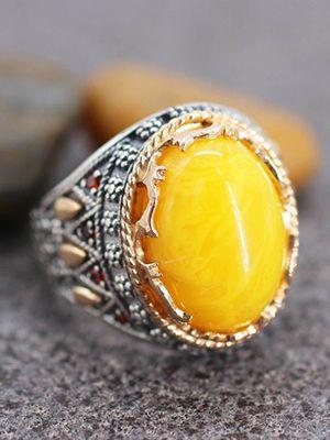 кольцо с желтым агатом