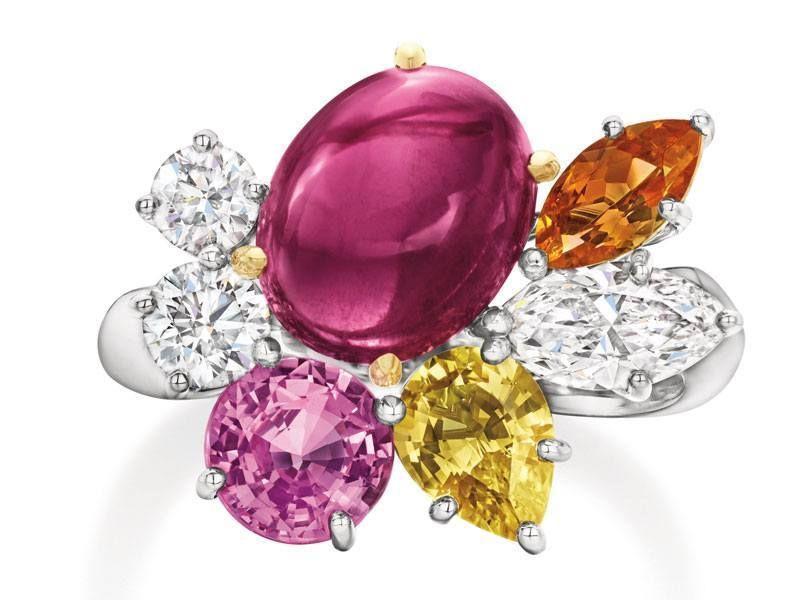 Кольцо Rubellite Cluster из желтого золота и платины с рубеллитом 3,55 карата, гранатом-спессартитом, желтым сапфиром, розовым сапфиром и бриллиантами