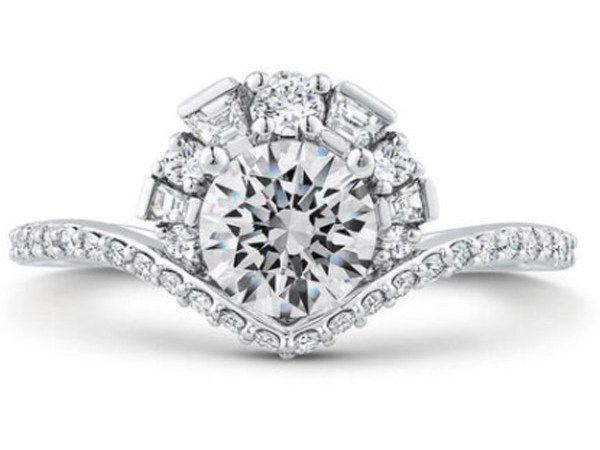 Кольцо для помолвки от Ben Bridge Jeweler в стиле восхода солнца из переработанного белого золота с добавлением палладия с бриллиантами