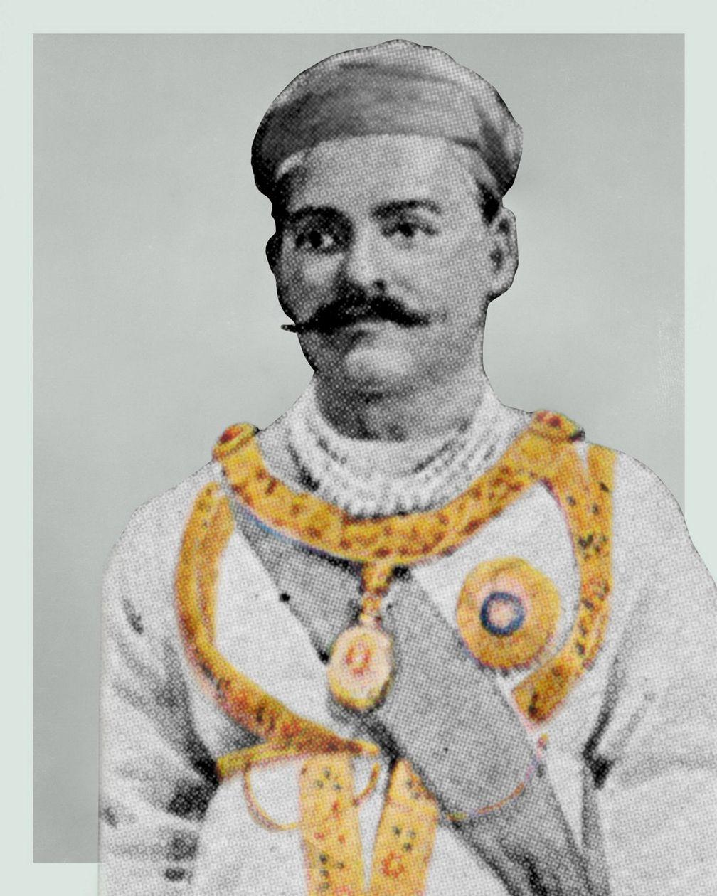 Марка с изображением махараджи Бароды