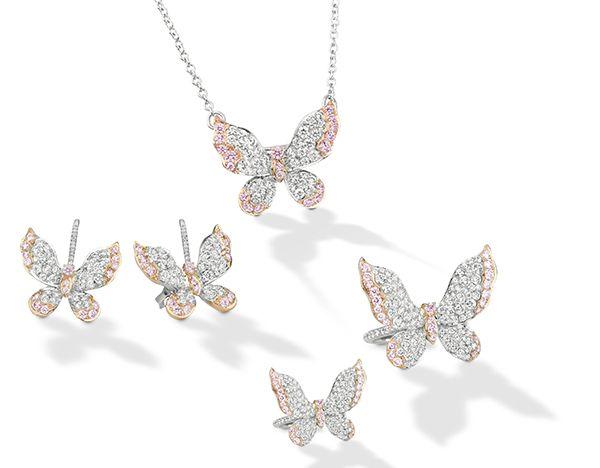 Серьги Butterfly из платины и розового золота, кулон-бабочка из платины и розового золота, кольцо-бабочка из платины и розового золота, кольцо-бабочка из платины и розового золота с бриллиантами Аргайл